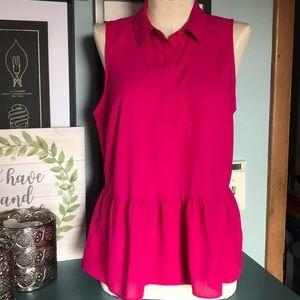 3/$20 AEO fuchsia sleeveless peplum blouse